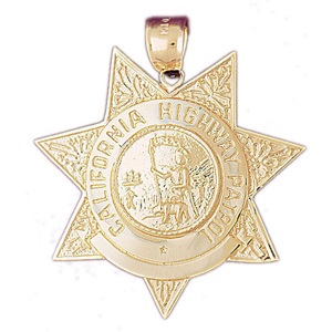 14k gold california highway patrol badge pendant