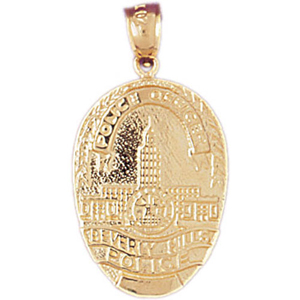 14k gold beverly hills police badge pendant mozeypictures Choice Image