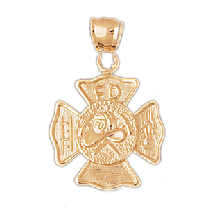 14k gold fd shield pendant