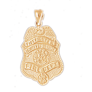 14k gold county of orange fire dept badge pendant