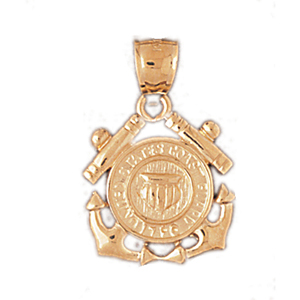 14k gold armed forces us coast guard pendant