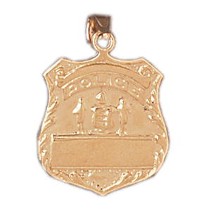14k gold engraveable badge pendant
