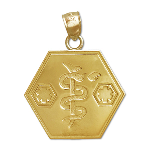 14kt gold star of life with rod of asclepius pendant