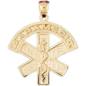 14k gold paramedic star of life pendant
