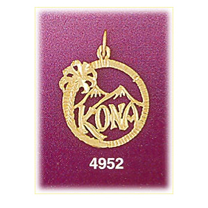 14k gold kona hawaii in circle charm