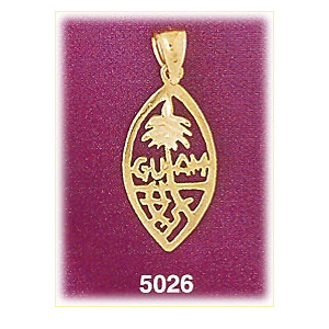 14k gold coat of arms guam charm