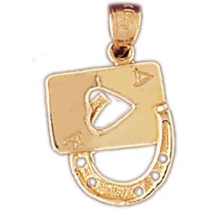 14k gold ace of hearts lucky horseshoe charm