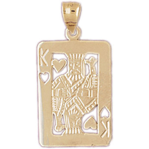 14kt gold king of hearts playing card charm