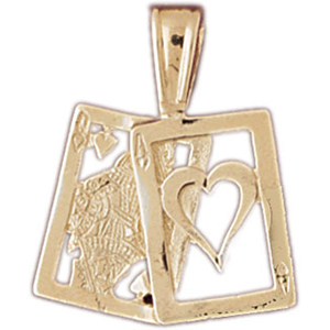 14k gold ace queen of hearts playing cards pendant