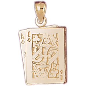 14k gold ace queen of clubs playing cards charm