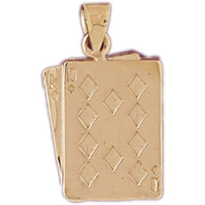 14k gold ace ten of diamonds playing cards charm