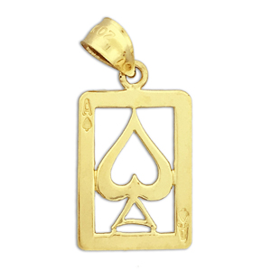 14k gold cutout ace of spades charm