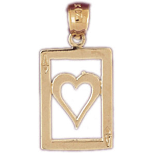 14k gold cutout ace of hearts charm