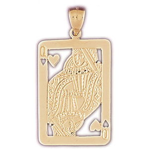 14k gold cutout queen of hearts pendant