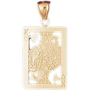 14kt gold cutout king of hearts pendant