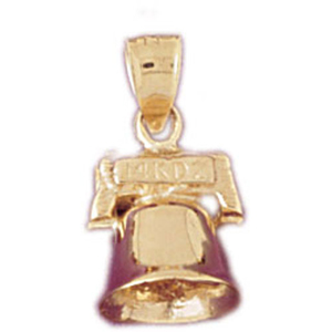 14k gold 3-d holiday christmas bell charm