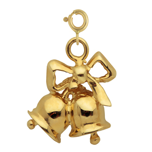 14k gold christmas bells with bow charm