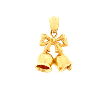 14k gold 3d christmas bell with ribbon charm