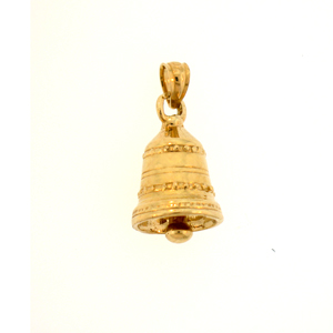 14k gold 3 dimensional christmas bell charm