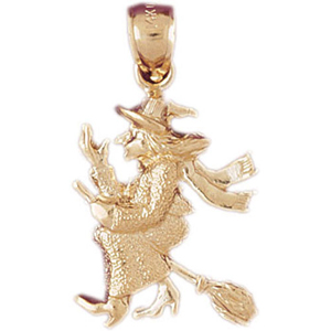 14k gold witch flying on broom pendant