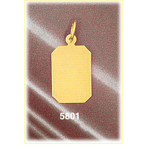 "14k gold 5/8"" hand cut rectangular engravable disc charm"