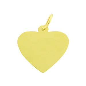 "14k gold engravable 5/8"" hand cut heart disc pendant"