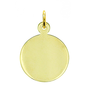 "14k gold 3/4"" engravable round disc pendant"