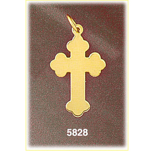 "14k gold engravable 1"" hand cut orthodox cross disc pendant"