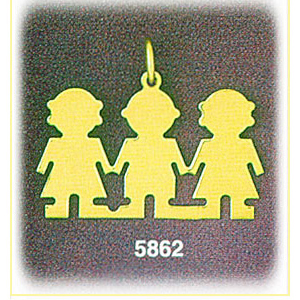 14k gold engravable boy with two girls triplet pendant