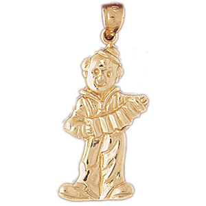 14k gold clown with accordion pendant