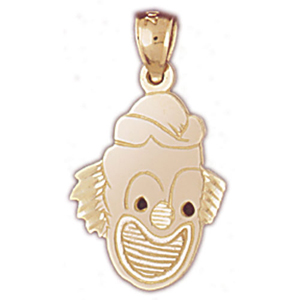 14k gold silhouette clown face charm