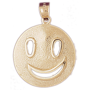 14k gold happy face pendant