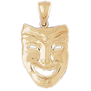 14kt gold comedy drama mask pendant