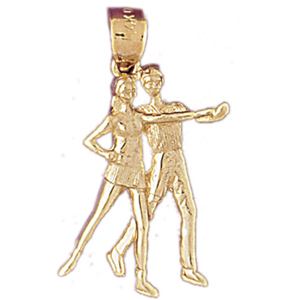 14k gold couple dancers charm