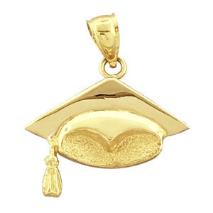 14k gold graduation cap with tassel charm pendant