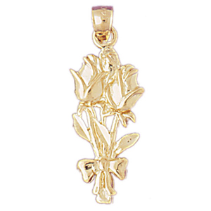 14k gold rose bouquet pendant