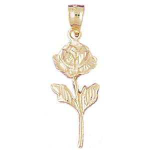 14k gold long stem rose pendant
