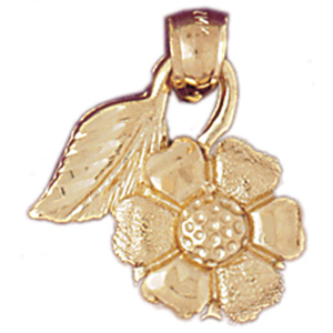 14k gold flower with leave pendant