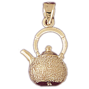 14k gold 3d tea kettle charm