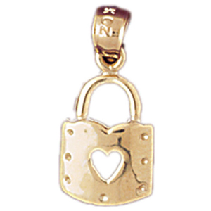14k gold padlock with cutout heart charm