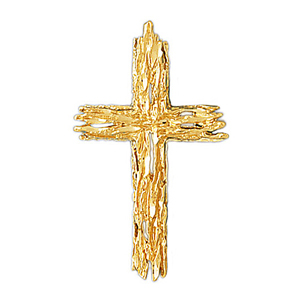 14k gold woodgrain cross pendant