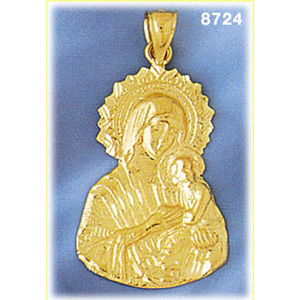 14k gold blessed mary and christ pendant