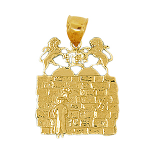 14kt gold western wall holy temple pendant