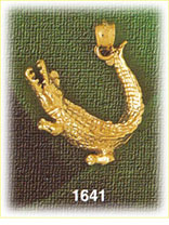 14k gold snapping alligator charm