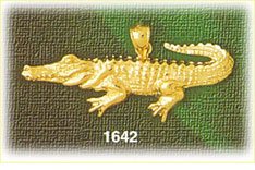 14k gold aquatic crocodile charm