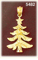 14K Gold Christmas Tree With Star Pendant