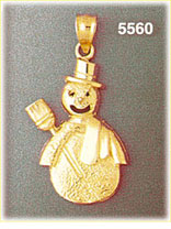 14k gold snowman with top hat and broom pendant