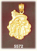 14K Gold Jolly Santa Claus Face Pendant