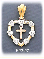 14k tri color gold cross heart cz charm