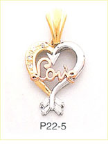 14k tri color gold heart love cz charm
